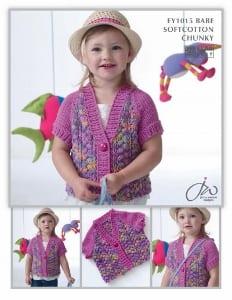 Euro Baby Baby Soft Cotton Chunky Girls Cardigan leaflet EY1015