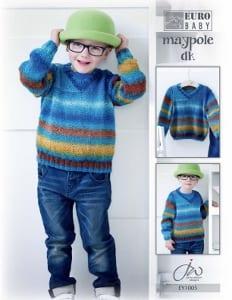 Euro Baby Maypole DK Boys V Neck Sweater Leaflet EY 1005