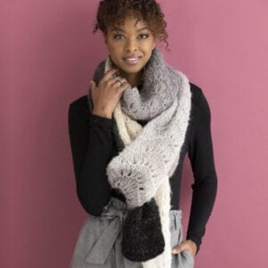 Laila Scarf Knitting Kit - Brushed Merino yarn knit in a repeating lace pattern